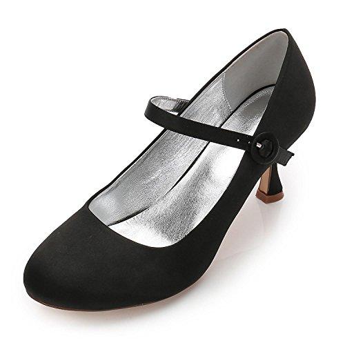 Femmes De Mariage Amande F17061 chaussures 27 Court Black Party yc Toe L Talons Hauts Satin Personnalisé 7qwgU5H