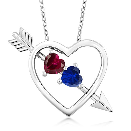(Gem Stone King 1.21 Ct Created Ruby and Simulated Sapphire Silver Heart and Arrow Pendant with 18 Inch Silver Chain)