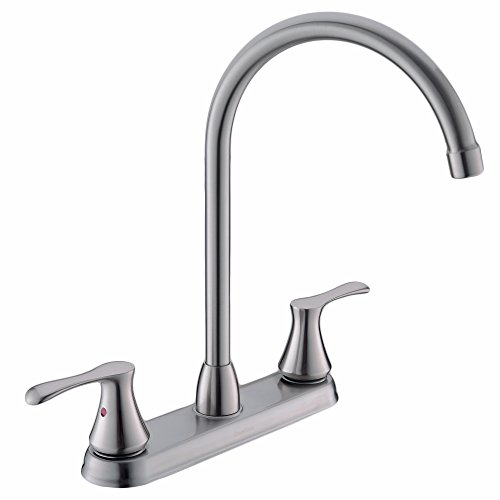 Comllen High Arc Swivel Spout Brushed Nickel Two Handle Kitchen Sink Faucet, RV Kitchen Faucet Dual Handle