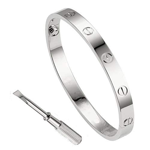 QUEEN JULIA Gold Bracelets for Women Couples Bracelets Titanium Steel Love Bracelet Buckle Pulseras de Mujer Valentines Wedding Couples Buckle 6.7 inch - Heart Lock Bracelet