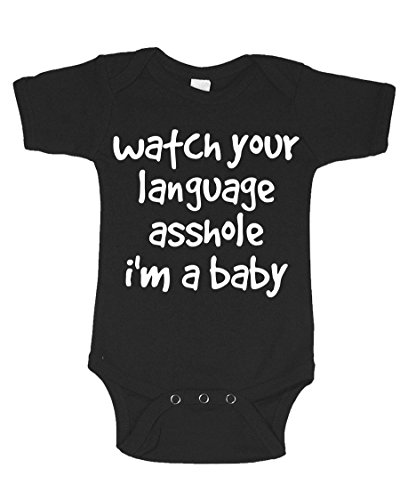 Watch Your Language Asshole Offensive Funny Infant Baby Novelty One Piece Cute Bodysuit Black New Born