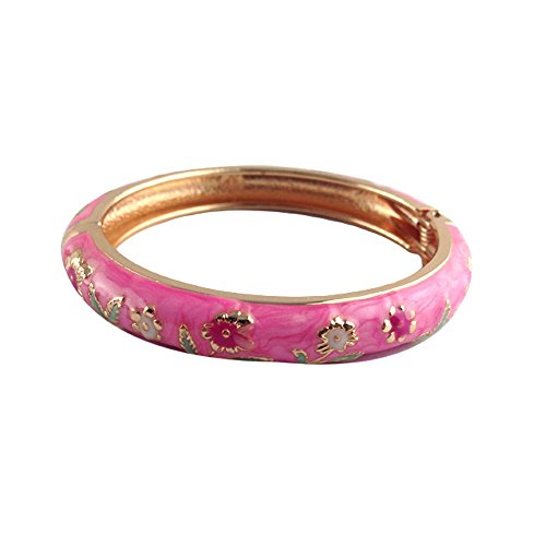 UJOY Childrens Bangles Cloisonne Jewelry Indian Gold Plated Enamel Flower Bracelets Opening Hinged with Box 55D13 Pink