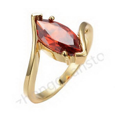 jacob alex ring 7*14MM Marquise Cut Garnet Ruby Gem Ring Womens 10KT Yellow Gold Filled Size 6 - 18k Gold Garnet Ring