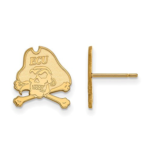 10k Yellow Gold LogoArt Official Licensed Collegiate East Carolina University (ECU) Small Post Earrings by LogoArt