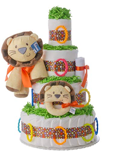(Diaper Cake - Welcome to The Circus Theme Handmade by Lil Baby Cakes - Gift for Baby - Makes a Great Baby Shower)