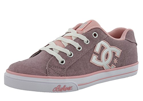 DC Chelsea TX SE Skate Shoe (Little Kid/Big Kid), Pink With Silver, 13.5 M US Little (Dc Pink Skateboard Shoe)