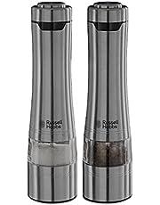Russell Hobbs Classics Peper- en Zoutmolen, Electrische, Keramische Maalmolens, Verlichte Voet, RVS, 23460-56
