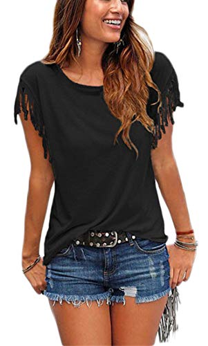 Womens Summer Tassles and Fringes Sleeve T Shirts Crew Neck Short Sleeve Casual Cute Blouse Tops for Junior (Black, - Fringe Sleeve
