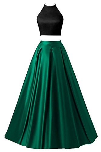 Renta Formal Gown (Topdress Women's Two Pieces Halter Long Prom Dress Formal Evening Gowns Black Green US 22Plus)