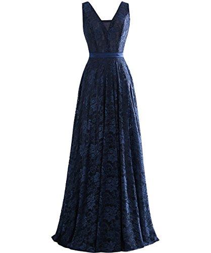 Rueckenfrei ärmellos Linie V Ballklider Langes Spitze Dunkelblau Gürtel Grau A Abendkleider Kleid mit Ausschnitt w1fqfT8