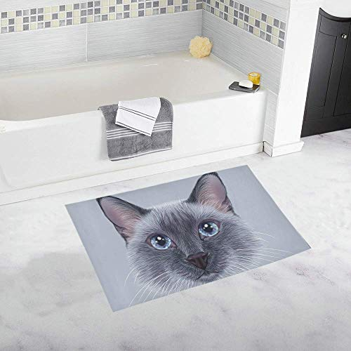 InterestPrint Custom Soft Bath Mat Thai Cat Bath Rug 20x32 Inch Non Slip Absorbent Bathroom Shower Rug by InterestPrint