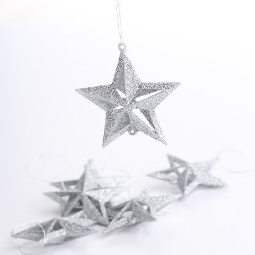(Package of 48 Sparkly Silver 3d Star Ornaments for Tree Trim, Embellishing and Crafting)