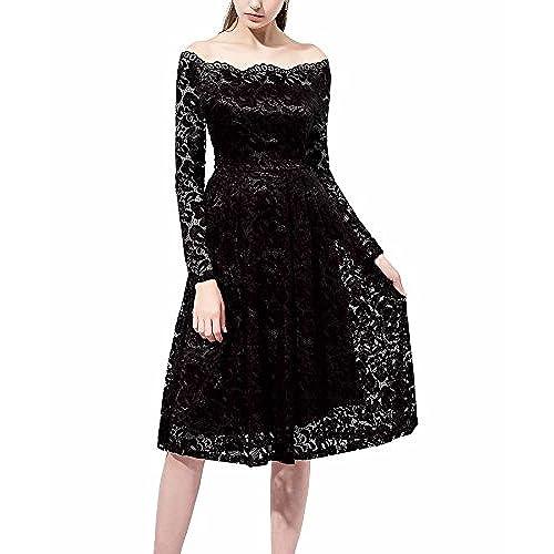Changuan Womens Vintage Long Sleeve Retro Cocktail Prom Dresses Size XL Black