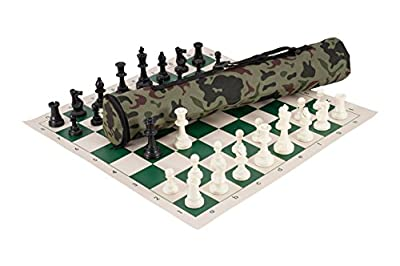 The House of Staunton Quiver Chess Set Combination - Triple Weighted - Jungle Camo Bag/Green Board - by US Chess Federation