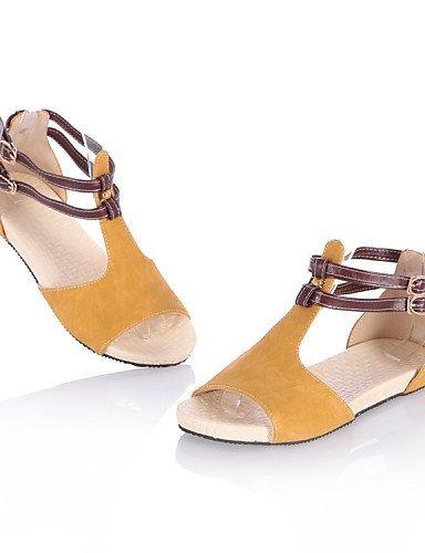 ShangYi Women's Shoes Fleece Flat Heel Comfort / Open Toe Sandals Dress / Casual Blue / Yellow / Pink / Beige Beige l6e62I