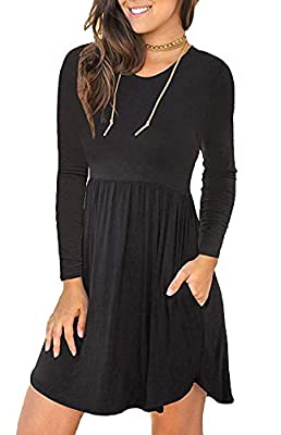 QINSEN Womens Crew Neck Long Sleeve Casual Flared T-Shirt Mini Dress with Pocket