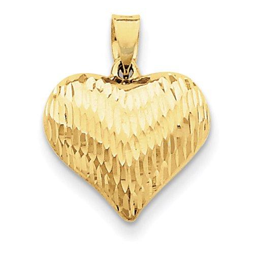 Diamond-Cut Puffed Heart Pendant, 14K Yellow Gold (Diamond Cut Puffed Heart Pendant)