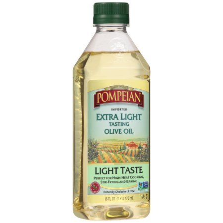 - Pompeian Extra Light Tasting Olive Oil LIGHT TASTE Perfect For High-Heat Cooking Stir-Frying and Baking (1-BOTTLE) ( NET WT 16 FL OZ)