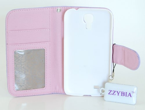 ZZYBIA® S4 QCV Light Purple Leatherette Stand Case Card Holder Wallet with Romantic Victorian Dust Plug Charm for Samsung Galaxy S4 IV I9500 I9505
