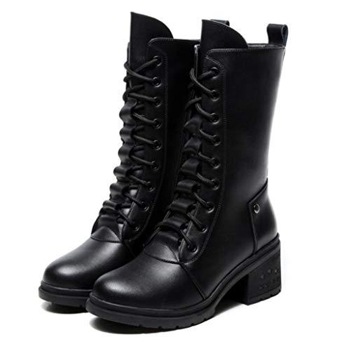 Straps Top Martin Herbst Stiefel Martin High Anti Frauen Leder Shiney Mode Black Stiefel Skid Wild Weibliche Winter PTqwUnx