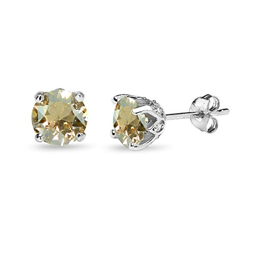Sterling Silver Golden Shadow 6mm Round Crown Stud Earrings Made with Swarovski Crystals - Golden Round Earrings