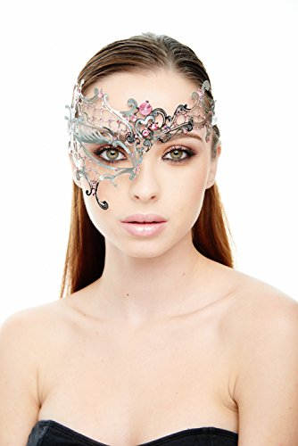 [Kayso Inc Signature Phantom of the Opera Venetian Laser Cut Masquerade Mask, Silver with Pink] (Mascarade Mask)