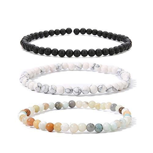 BALIBALI 4MM Mini Gemstone Energy Bracelets Tiny Bracelet Natural Stone Statement Bracelet Charm Beaded Couples Bracelets (3 Colors Set B)