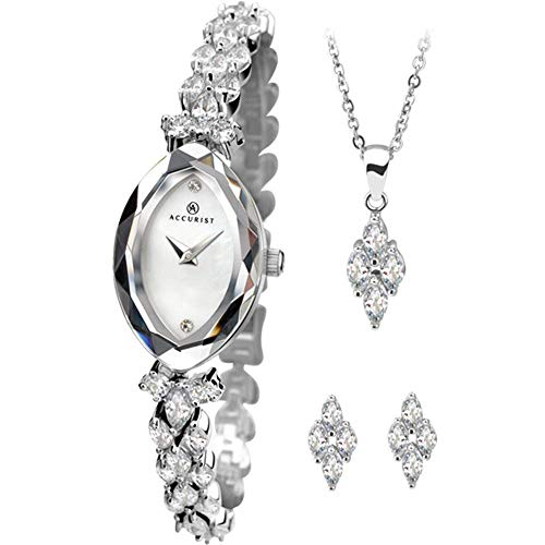 Accurist Ladies White Dial Stone Set Bracelet Watch with Match Pendant and Ear Studs Gift Set 8097G