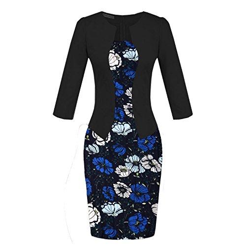 ZHUDJ Vestido Vestido De Verano _ Falsa Impresión Dos Paquetes Falda De Cadera Blue blue