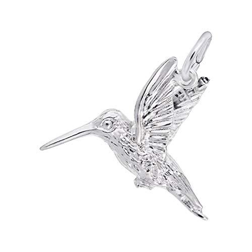 Rembrandt Charms Sterling Silver Hummingbird Charm - Hummingbird Italian Charm