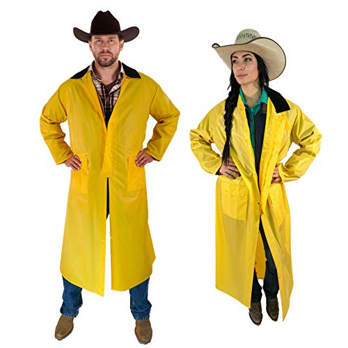 Southwestern Equine American Cowboy Saddle Slicker Rain Coat Duster - Waterproof Full Length Unisex Yellow