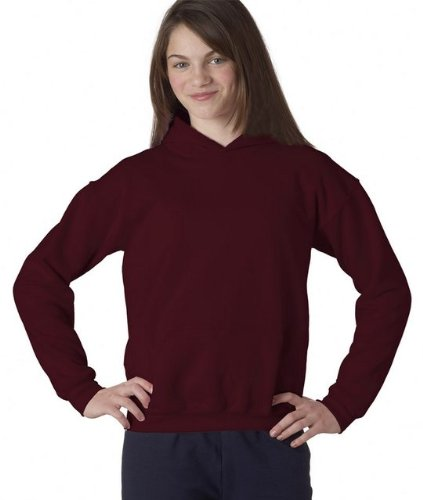 Heavy Blend Youth Hooded Sweatshirt, Color: Maroon, Size: Large