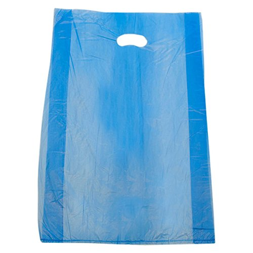 KC Store Fixtures 06456 Plastic Bag with Die Cut Handles High Density, 16'' x 4'' x 24'', 0.65 mil, Blue (Pack of 500)