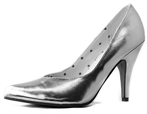 Sugar Women's 1/2 Natalie-03 Silver Metallic V Cut Pointy Pumps Shoes, Silver, 6.5 ()