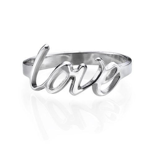 Personalized Sterling Silver Script Name Ring - Custom Made with Any Name! (7 Inches) Sterling Silver Script Name Ring