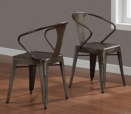 Vintage Tabouret Stacking Chair (Set of 4), Steel, Brown, Metal ...