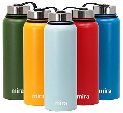 (MIRA 40 oz Stainless Steel Vacuum Insulated Wide Mouth Water Bottle | Thermos Keeps Cold for 24 hours, Hot for 12 hours | Double Walled Powder Coated Travel Flask | Pearl Blue )