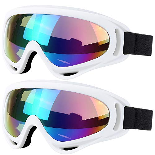 (Ski Goggles, 2 Pack Snowboard Goggles Skate Glasses, Motorcycle Cycling Goggles for Kids, Boys & Girls, Youth, Men & Women, with UV 400 Protection, Wind Resistance, Anti-Glare Lenses)