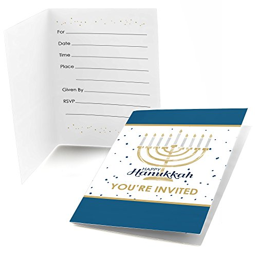 Happy Hanukkah - Fill In Chanukah Party Invitations (8 count)