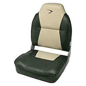 Wise Contoured Folding High Back Boat Seat, Green/Sand