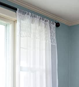63-Inch Semi-Sheer Slubbed Fabric Curtain Panel with Smocked Top, in Blue