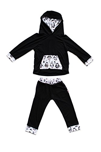 Pickles N Roses Big Girls' Penguin Hoodie Set 6 to 12 Mo black and white Penguin Kids Hoodie