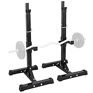 Smartxchoices Set of 2 Barbell Squat Rack Stand Adjustable Height Solid Steel Bench Presses, Home Garage Gym Portable Dumbbell Racks,Black