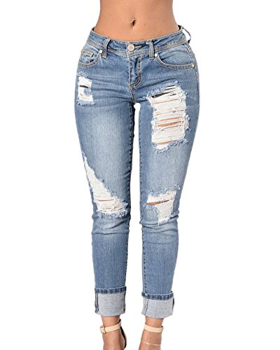 Femme Slim Pantalon Droit Dchirs Pantalons En Jeans Stretch Pantalons Longue Bleu Clair