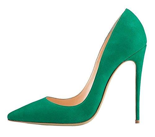 Talons Femme Emiki Pointed Suède Chaussures High Grande Hauts Couleur Femme Taille Unie Heels Vert Escarpins BwgwFq1