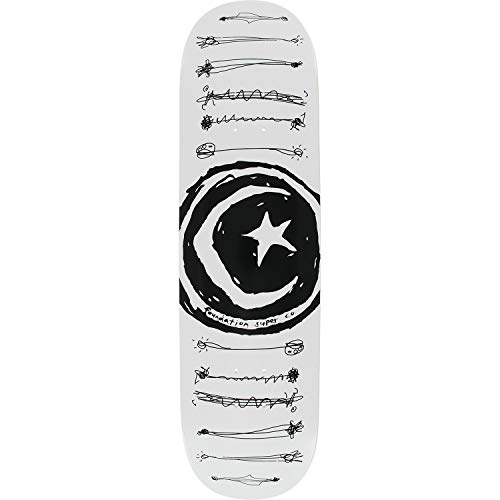 (Foundation Skateboards Star & Moon Scribble White Skateboard Deck - 8.25