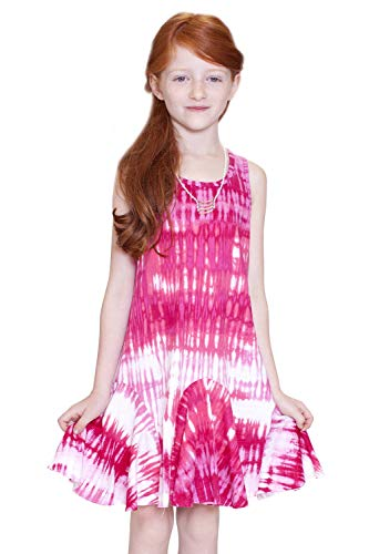 (Truly Me, Big Girls' Easy Throw Over Printed Sleeveless Knit Dress with Cutout Detail, Size 4-6X (Pink Tie Dye, 14))