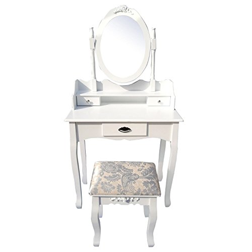 Makeup Vanity Table Set,Wood Makeup Bathroom Dressing Table Stool Set with Mirror (1 Mirror, 3 Drawers) Gift for Mom White Color - Free Time Dresser Mirror