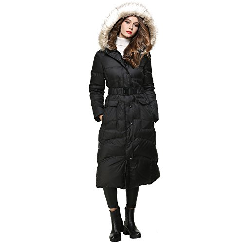 BLDO Women's Long Thickened Fur Hooded Down Jacket with Sashes (L, Black) by BLDO (Image #2)