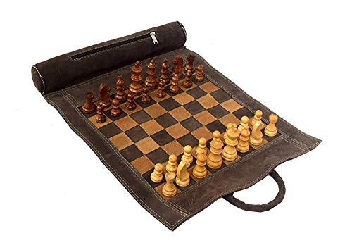 """WIGANO 19""""X15"""" Vintage Geniuine Leather Chess Set (Chess Size-12""""X12"""") - with 3"""" King Size Chess Pieces & Roll-Up Chess Bag Vinyl Leather Chess Board (Brown Suede)"""